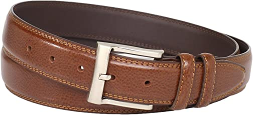 Florsheim 男士 Big-tall Pebble Grain Leather Belt 32mm 法国白兰地 56