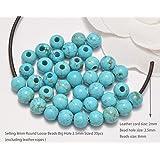 AD 珠子天然宝石 8mm 圆形散珠大孔 2.5mm 尺寸 30 件 蓝* AD Beads