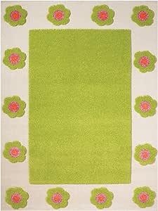 小助手3d 花朵边框设计的儿童游戏地垫,绿色 ( 80x 150cm )