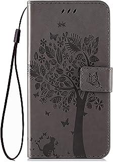 IKASEFU 兼容 LG G8X ThinQ 手机壳压花 PU 皮革钱包带手机套卡槽防震磁性支架功能超薄贴合对开翻盖书本式保护套保护减震保护套,灰色