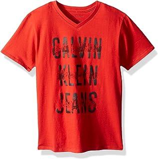 Calvin Klein 男孩条纹 V 领 t 恤