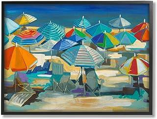 Stupell Industries 彩色沙滩伞风景航海深蓝色*三黑色框架墙壁艺术,24 x 30