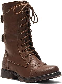 Herstyle Florence2 女式*踝系带扣带战斗靴中筒及膝靴