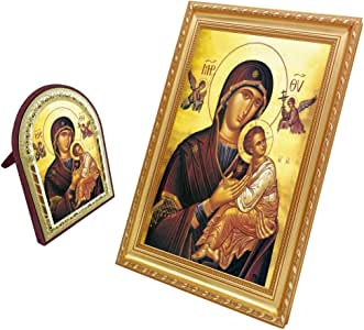 """FengMicon Virgin Mary Queen Of Heaven 标志天主教基督教礼物 Fmppf-200gold 12.6""""x10.2"""""""