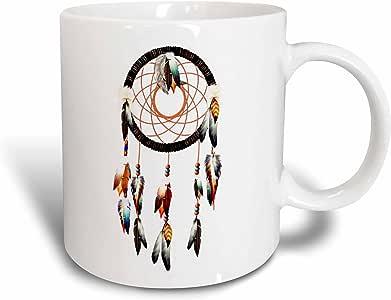 3dRose Dream Essence Designs 美国本土 - 美国本土追梦机设计,彩色羽毛和珠子。 - 马克杯 白色 15盎司 mug_212834_2