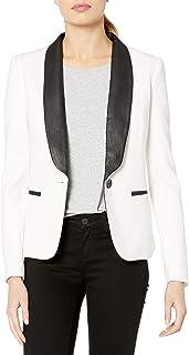 James Jeans 女式燕尾服夹克,配仿皮翻领象牙色黑色斗篷
