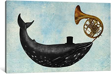 iCanvasART TFN227-1PC6-40x26 Whale Song Blue Canvas Print by Terry Fan, 26 x 40 x 1.5-Inch