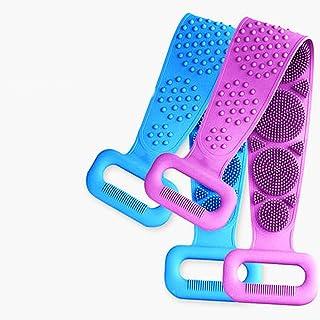 硅胶背部清洁刷适用于淋浴,沐浴用于背部清洁和去角质,背部按摩和所有身体去除灰烬和泥浆(2 件装 - 蓝色 + 紫色)