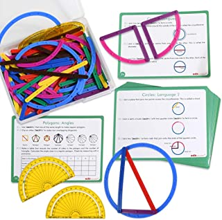 Edx Education GeoStix 豪华套装 - 学习几何图形带 100 根灵活建筑棒 - 包括 2 个螺旋桨和 16 张活动卡 - 用于数学、艺术和精细运动技巧