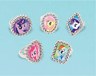 """My Little Pony Jewel Rings Party Supplies, 18 Pieces, Made from Plastic, Multicolor, 1"""" H x 1"""" W x 1"""" D by Amscan"""