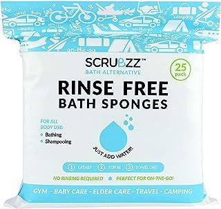 Scrubzz 一次性无冲洗洗洗浴巾 - 多功能一体一次性浴巾,简单湿润,洗发水,洗发水或洗发水,25 片 1包