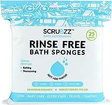 Scrubzz 一次性無沖洗洗洗浴巾 - 多功能一體一次性浴巾,簡單濕潤,洗發水,洗發水或洗發水,25 片 1包