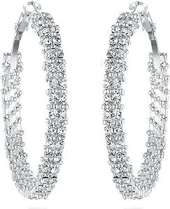 Gemini 女士镀银施华洛世奇水晶大大码圆形耳环 Gm008,尺寸:3.81 厘米,颜色:银色 银色