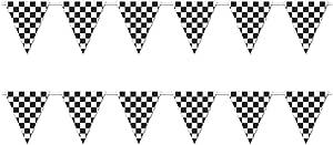 beistle s57703az22支装方格 GIANT 三角旗条幅20.32cm x 30.48cm ' 黑色 / 白色
