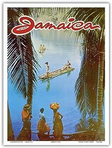 """Pacifica Island Art Jamaica - 复古世界旅行海报 c.1970年代 - 艺术大师印刷 9"""" x 12"""" PRTA4640"""