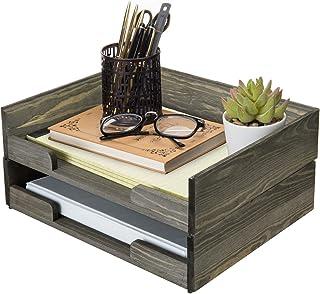 MyGift 2 层复古深灰色实木可堆叠文件夹夹/文件整理盒收纳托盘