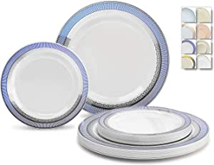 "OCCASIONS"" 120 片一次性塑料盘子套装 - 152.4 x 26cm 晚餐 + 152.4 x 19.05 cm 沙拉/甜点盘 Louvre Blue/Silver"