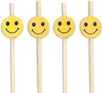 BambooMN 装饰性优质竹子笑脸鸡尾*三明治水果叉叉子,2 种长度 黄色 4-Inch 6955114954951a