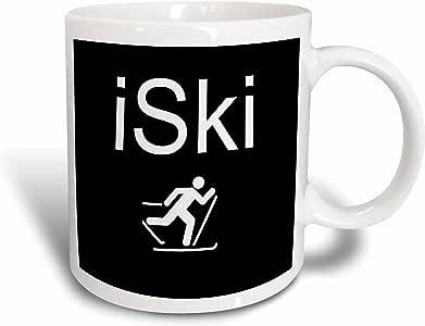 3drose xander 的运动标语–iski ,白色字母在黑色背景与 PICTURE OF 滑雪者–马克杯 白色 11 oz