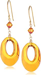 Swarovski Elements Crystal Astral Pink Color Helios with Gold over Sterling Silver Earwire Drop Earrings