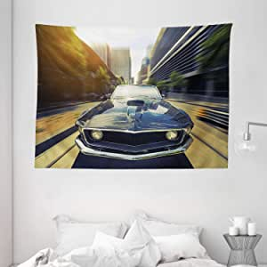 Retro Tapestry by Ambesonne, Vintage Classic Car in Urban Street Old Fashion Auto in Town Nostalgia Picture, Wall Hanging for Bedroom Living Room Dorm, 80 W X 60 L Inches, Sepia Silver Grey