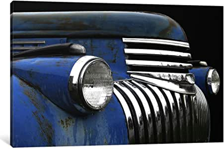 """iCanvasART Chevy Grill Blue Canvas Print by Larry Hunter, 40"""" x 26""""/1.5"""" Deep"""