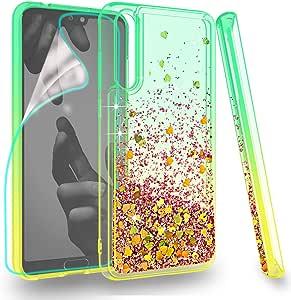 ZingCon 华为 P20 Pro 保护套,华为 P20 Plus 手机壳,闪闪发光的手机壳快沙闪亮可爱闪耀,[高清屏幕保护膜] 防震混合硬质 PC 柔软 TPU 保护壳Zingcon Huawei P20 Plus 绿色/橙色