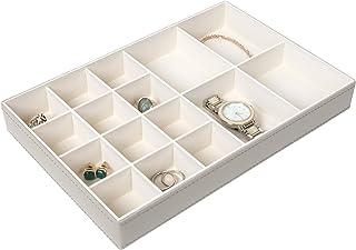 Richards Homewares 首饰收纳盒,16 格,鹅卵石灰