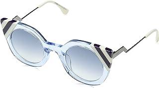 Fendi FF 0240 MVU Waves Azure Crystal Plastic Cat-Eye Sunglasses Dark Blue Gradient Lens