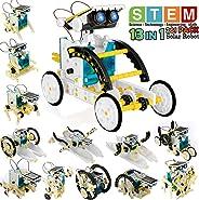 POKONBOY 13 合 1 太阳能机器人创意套件,教育科学实验套件 DIY 机器人套件 太阳能 STEM 机器人构建套件 适合青少年 儿童搭建