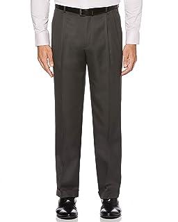 Perry Ellis 男式经典修身弹性腰双褶袖口裤,