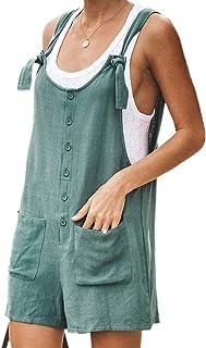 JBEELATE 女式棉麻短裤连体裤,休闲七分背带裤,夏季宽松连身裤,带口袋