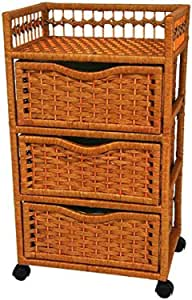 "Oriental Furniture 31"" Natural Fiber Chest of Drawers on Wheels - Honey"