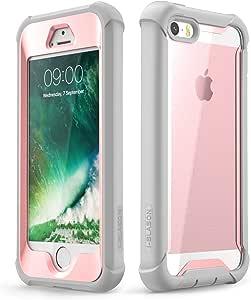 iPhone SE 手机壳,iPhone 5s/5 手机壳,i-Blason [Ares] 全身坚固透明防撞保护套,内置屏幕保护膜,适用于 2016 年上市(与 iPhone 5s/5 兼容) 粉红色