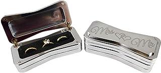 """""""Mr and Mrs""""戒指收藏盒 - 婚礼仪式 - 纪念品 - 手工抛光铝 - 美国制造"""