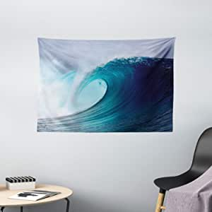 Ambesonne Ocean Decor Collection, Tropical Surfing Wave On A Windy Sea Indonesia Sumatra, Bedroom Living Room Dorm Wall Hanging Tapestry, 60W X 40L Inch