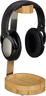 Relaxdays 耳机支架,竹制金属,支架,开关耳塞,托盘,优雅设计,自然,29.6 x 12 x 15 厘米