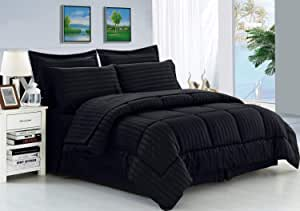 Elegance Linen Wrinkle Resistant - Luxury Silky Soft Dobby Stripe Bed-in-a-Bag 8-Piece Comforter Set -HypoAllergenic - Full/Queen, Black