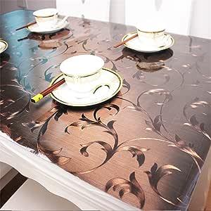 OstepDecor 定制 1.5 毫米厚水晶透明 PVC 桌盖保护台垫多尺寸 棕色 24 x 72 Inches P085B-24x72