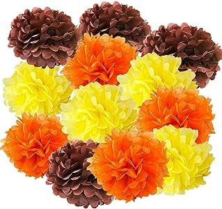 12 件纸巾纸毛球纸花球装饰纸巾球纸装饰婴儿淋浴托儿所装饰派对礼物 Brown Orange Yellow 2-x-12-Inch POM-BYO
