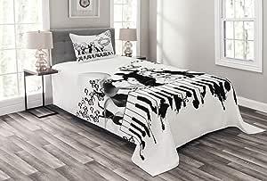 Lunarable 动物印花被单套装,野生动物豹纹图案野生动物现代插图,装饰绗缝 3 件套床单套装,带 2 个枕套,沙棕色 Multi 25 两个 bed_68289_twin