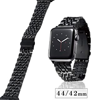 Elecom宜丽客 Apple Watch 乐队 44mm / 42mm 不锈钢 [7个连接设计,舒适贴合感优异穿着舒适] 带长度调整工具 黑色 AW-44BDSS7BK AW-44BDSS7BK