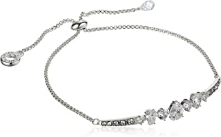 Anne Klein 安妮克莱因 梨形水晶银色可调滑块手链