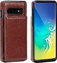 IronSeals AQ 折叠卡槽皮革手机套钱包带磁扣适用于三星 S10/S10e/S10+ S10 棕色