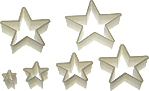 Silikomart Wonder Cakes Collection Nesting Smooth Nylon Dough Cutters, Star, Set of 6