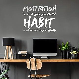 """乙烯基墙艺术贴花 - Motivation is What Gets You started - 58.42 厘米 x 71.12 厘米 - 健身房健身房、家庭、卧室、办公室、工作场所、公寓、客厅引言装饰 白色 23"""" x 28"""" MOTIVATNGETSTARTD"""