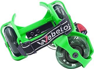 Webetop 儿童发光脚跟滑板车可调节双轮滑板鞋,均码,60 千克重量限制,带便携包和迷你扳手,可调节尺寸
