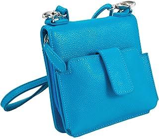 "Sanis Enterprises Blue Zip Closure Cross Body Handbag Aimee III Collection, 6"" H x 6"" L x 2"" W"
