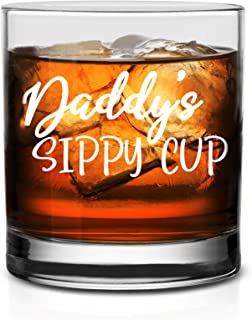 NeeNoNex Daddy's Sippy Cup 威士忌杯 Whiskey Glass - white_print 11 oz.