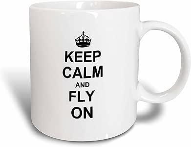 3dRose InspirationzStore 排版 - Keep Calm and Fly on - 携带飞行 - 送给飞行员或飞行员的礼物 - 有趣幽默 - 马克杯 陶瓷 11 oz mug_157721_1
